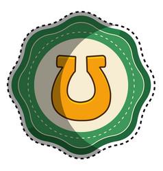 gold sticker horseshoe decoration art vector image