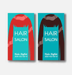 Hair salon business card templates with red hair vector