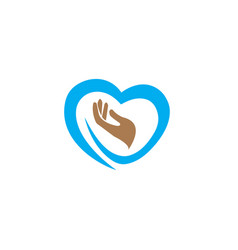 hand and heart caring human health for logo design vector image