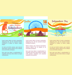 Happy independence day india poster with text vector