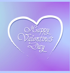 happy valentines day lettering in heart shape on vector image