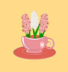 Hyacinths in a pink cup vector
