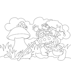 Image of gnome and caterpillar on mushroom vector