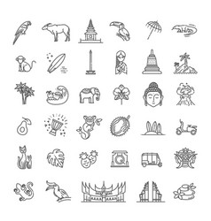 Indonesia icons set attractions line design vector