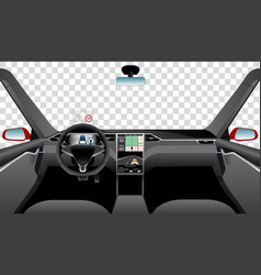Interior of self driving car vector