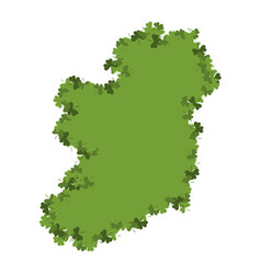ireland map of clover shamrock irish land area vector image
