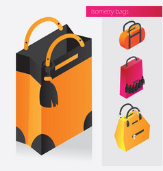 Isometric set with fashion bags and vector