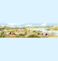 landscape with people spending summer time outdoor vector image