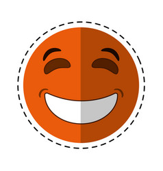 Laughing emoticon style cut line vector