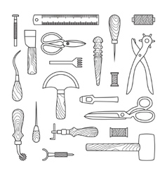 Leather working tools vector image vector image