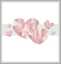 Low poly art hearts card design vector