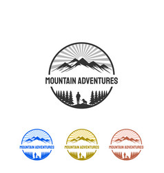 Mountain with sunburst logo designs inspirations vector