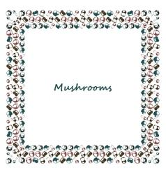 Mushrooms arranged in frame vector