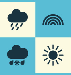 Nature icons set collection of sun douche vector