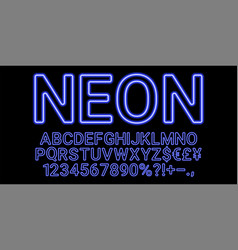 Neon font in blue color vector