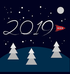 new year concept - cartoon rocket vector image