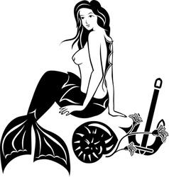 Nude sitting mermaid black stencil vector image