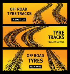 offroad tire tracks black car tyres prints banners vector image