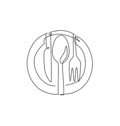 one single line drawing plate knife fork vector image