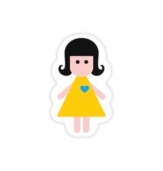 Paper sticker on white background girl in love vector