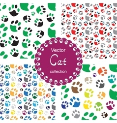 Pattern with cat paw vector