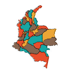 Political map of colombia vector