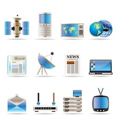 realistic communication and business icons vector image