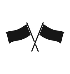 Red and blue flags icon in black style isolated on vector