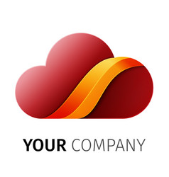 red and orange cloud logo design ribbon vector image