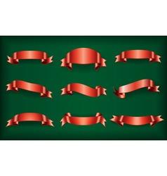 Red ribbons set green vector