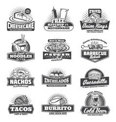 Retro takeaway fastfood monochrome icons vector