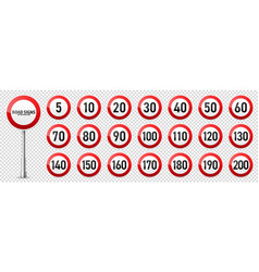 Road signs collection traffic control sign speed vector