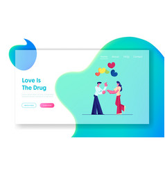 romantic dating website landing page man giving vector image