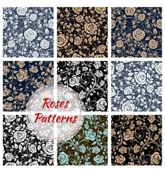 Roses floral seamless patterns vector