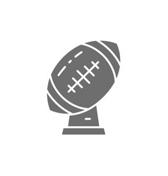 Rugby ball trophy american football cup grey icon vector