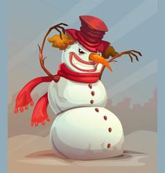 Scary snowman vector