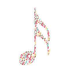 semiquaver note color silhouette formed by musical vector image