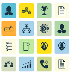 set of 16 human resources icons includes pin vector image