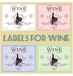 Set of labels for wine with bunch grapes and barre vector