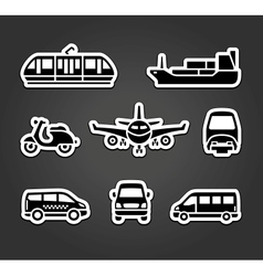 Set of stickers transport signs vector image