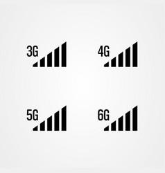 signal strength icons 3g 4g 5g 6g internet vector image
