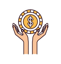Silhouette color sections hands with floating coin vector