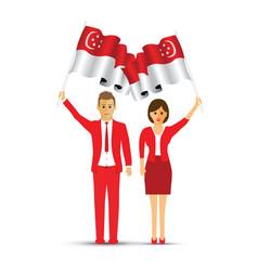 singapore flag waving man and woman vector image