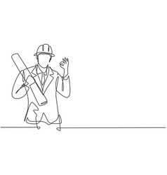 Single continuous line drawing architect vector