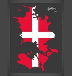 Sjaelland map of denmark with danish national flag vector
