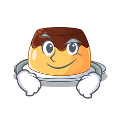 Smirking chocolate mousse with mint in character vector
