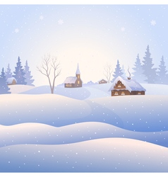 Snowscape square background vector