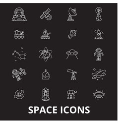 space editable line icons set on black vector image