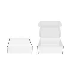 Square packaging boxes with opened and closed lid vector
