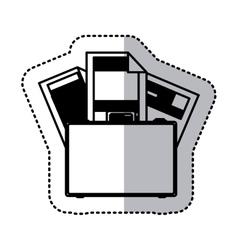 sticker monochrome silhouette briefcase and vector image